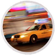 Speeding Cab Round Beach Towel
