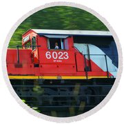 Speeding Cn Train Round Beach Towel