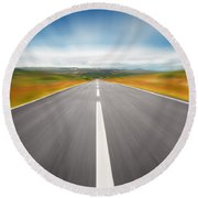 Speedyway Round Beach Towel by Carlos Caetano