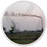 Spewing Smoke And Pollution Into A Green Rural Environment Round Beach Towel