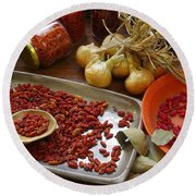 Spicy Still Life Round Beach Towel
