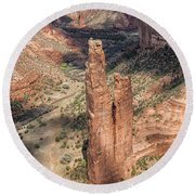 Spider Rock - Canyon De Chelly Round Beach Towel
