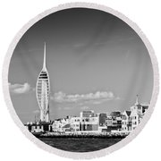 Spinnaker Tower And Round Tower Portsmouth Bw Round Beach Towel