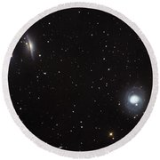 Spiral Galaxies Ngc 1068 And Ngc 1055 Round Beach Towel