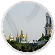 Spires Of Church Round Beach Towel