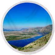 Spirit Lake From Windy Point  Round Beach Towel