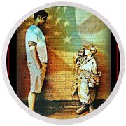 Spirit Of Freedom - Soldier And Son Round Beach Towel