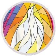 Spirit Rests As A Dove Round Beach Towel