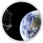 Spitzer Departing The Earth Round Beach Towel