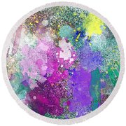 Splattered Colors Abstract Round Beach Towel