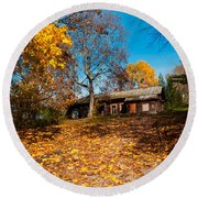 Splendor Of Autumn. Wooden House Round Beach Towel