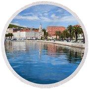 Split Bay In Croatia Round Beach Towel