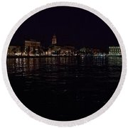 Split Old Town By Night Round Beach Towel