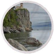 Split Rock Lighthouse In Northern Minnesota Round Beach Towel