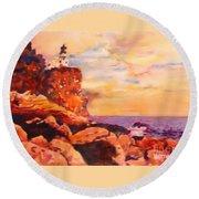 Split Rocks Golden Memories       Round Beach Towel