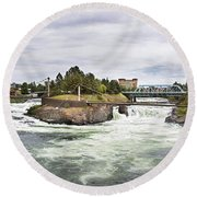Spokane Falls From The Lincoln Street Bridge Round Beach Towel