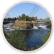 Spokane Falls Hdr Round Beach Towel by Carol Groenen