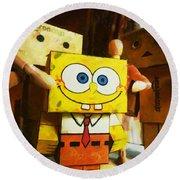 Spongebob Always Loves The Group Hugs Round Beach Towel