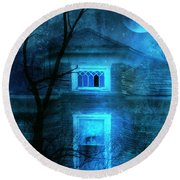 Spooky House With Moon Round Beach Towel by Jill Battaglia