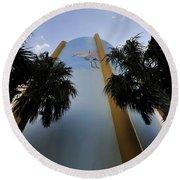 Spoonbill Through Palms Round Beach Towel