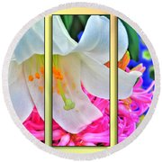 Spring Again Triptych Series Round Beach Towel