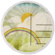 Spring And Summer Postcard Round Beach Towel