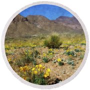 Spring Bloom Franklin Mountains Round Beach Towel