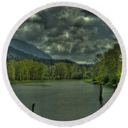 Spring Clouds At The Nicomen Slough Round Beach Towel