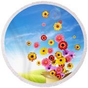 Spring Delivery 2 Round Beach Towel by Carlos Caetano