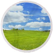 Spring Farm Landscape With Blue Sky In Maine Round Beach Towel