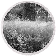 Spring Field Black And White Round Beach Towel