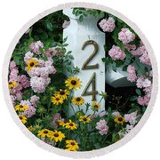 Spring Flowers And Fencepost Round Beach Towel