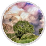 Spring Storm In Tuscany Round Beach Towel