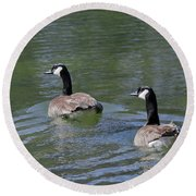Spring Thaw Water Geese Round Beach Towel