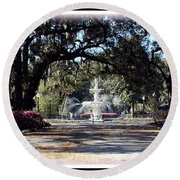 Spring Walk Through Forsyth Park Round Beach Towel