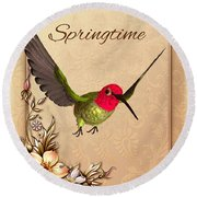 Springtime - Hummingbird Round Beach Towel