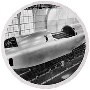 Spruce Goose Hull Construction Round Beach Towel