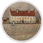 Square - Fort-philippe Round Beach Towel by Henri Eugene Augustin Le Sidaner