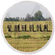 Square Hay Bales Round Beach Towel