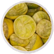 Squeezed Key Lime Halves Round Beach Towel
