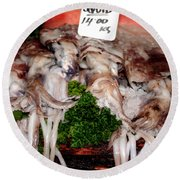 Squid For Sale Round Beach Towel