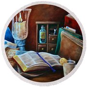 Srb Candlelit Library Round Beach Towel