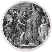 St. Ambrose & Theodosius Round Beach Towel