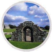 St Brigids Church, Inis Cealtra Holy Round Beach Towel