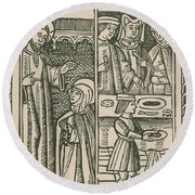 St. Catherine, Italian Philosopher Round Beach Towel by Science Source