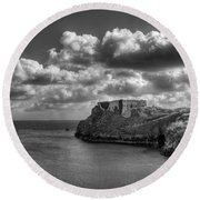 St Catherines Rock Tenby Round Beach Towel by Steve Purnell