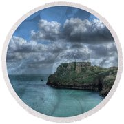 St Catherines Rock Tenby With A Shell Texture Round Beach Towel
