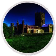 St Davids Cathedral Pembrokeshire Glow Round Beach Towel