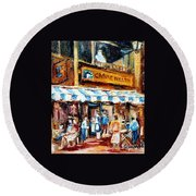 St. Denis And Prince Arthur Montreal Cafe Scene Round Beach Towel