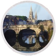 St. Finbarres Cathedral, Cork, Co Cork Round Beach Towel